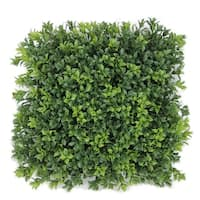 """12"""" Decorative Square Two Tone Moss Green Artificial Boxwood Mat"""