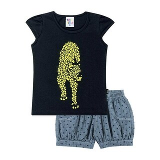 Toddler Girl Outfit Graphic Shirt and Jean Shorts Pulla Bulla Set Size 1-3 Years