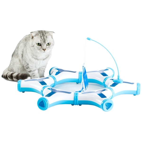 Configurable Interactive Cat Toy with Spring Feather Teaser