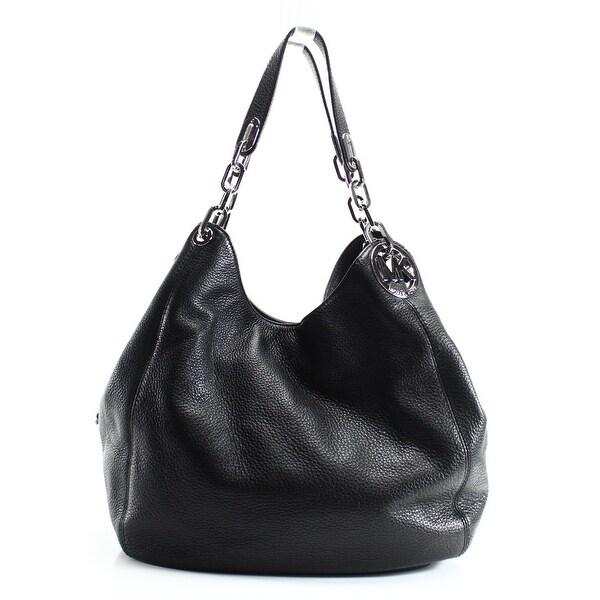 4280aae0a9bc Shop Michael Kors NEW Black Pebble Leather Fulton Large Shoulder Bag ...