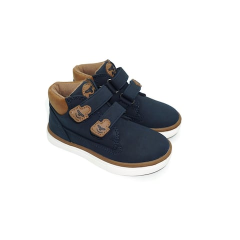 Pipiolo Boys Navy High Top Double Adhesive Strap Sneakers
