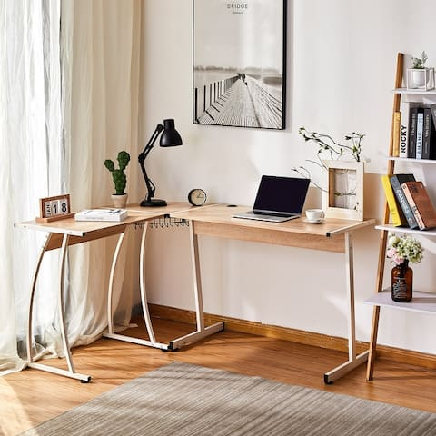 CO-Z L Shaped Home Office Computer Corner Desk Gaming Desk with Cable Tray