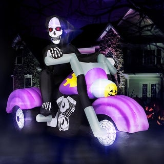 Holidayana 8 ft Long Reaper on Trike Chopper Halloween Inflatable, Spooky Weather Resistant Inflatable Decoration
