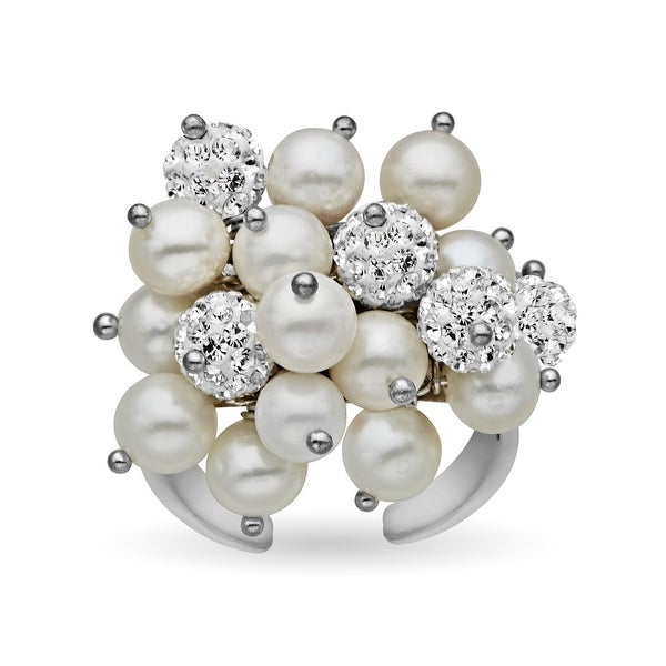 Aya Azrielant Bouquet Ring with Freshwater Pearls and White Swarovski Elements Crystal Pave in Rhodium Plate
