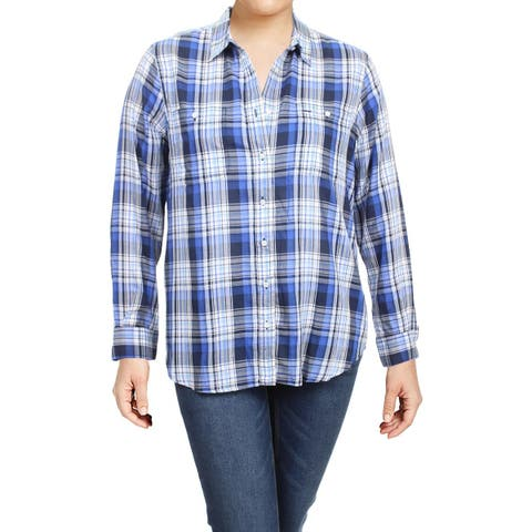 b6f5daa9 Lauren Ralph Lauren Womens Alishia Button-Down Top Plaid Long Sleeves