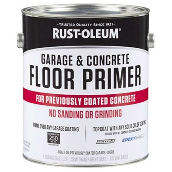 Rust-Oleum 306196 RockSolid Garage & Concrete Floor Primer, Gray, 1/2 Gallon