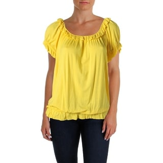 August Silk Womens Jersey Banded Bottom Peasant Top