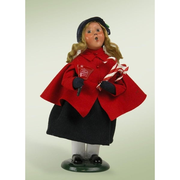 """10"""" Salvation Army Carolers Donation Girl with Bell and Candy Canes Christmas Figure - BLue"""