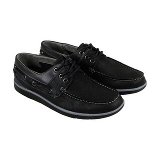 GBX Ellum Mens Black Leather Casual Dress Lace Up Boat Shoes
