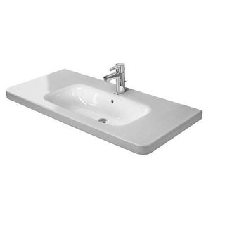 "Duravit 2320100000 DuraStyle 39-3/8"" Ceramic Bathroom Sink for Vanity, Wall Mounted or Pedestal Installations with Single Faucet"
