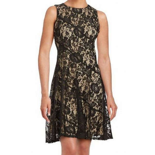 Shop Gabby Skye Black Womens Size 14 Floral Lace Sleeveless