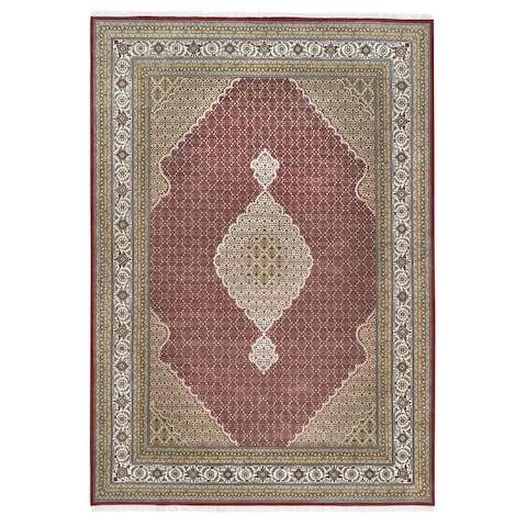 "Shahbanu Rugs Hand Knotted Red Tabriz Mahi Fish Medallion Design Wool And Silk Oriental Rug (9'9"" x 14'1"") - 9'9"" x 14'1"""
