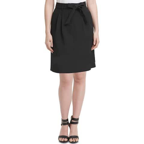 DKNY Womens Petites A-Line Skirt Paperbag Pleated - Black