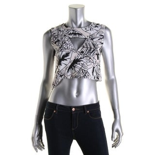 Zara W&B Collection Womens Floral Print Cut-Out Crop Top