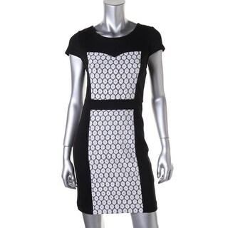 Kensie Womens Lace Cap Sleeves Wear to Work Dress