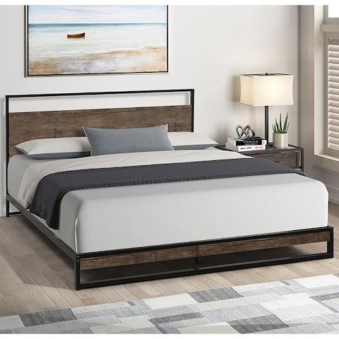 Bedroom Queen metal bed frame with wood slats