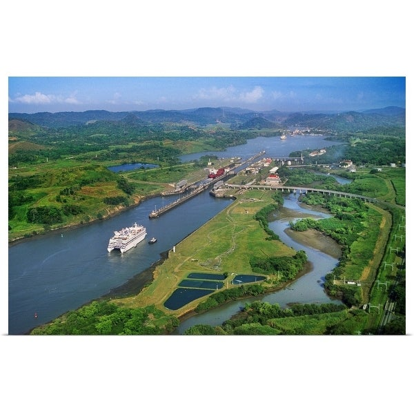 """""""Aerial view of the Panama Canal"""" Poster Print"""