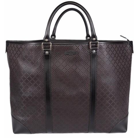 "Gucci 309413 Unisex Brown Leather Diamante XL Tote Travel Purse Bag - 16"" x 15.7"" x 5.5"""