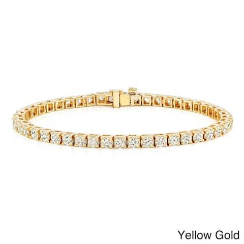 Auriya 2 1/3ct TW Round Diamond Tennis Bracelet 14k Gold - 8-inch