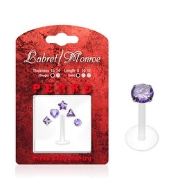 Labret, Monroe, Tragus, and Cartilage with 1 PTFE Shaft and 5 Interchangeable Purple 3mm Push-in Gem Tops