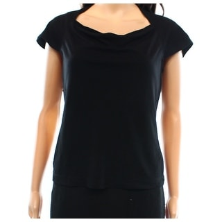 St. John NEW Deep Black Women's Size 2 Gathered Solid Seamed Blouse
