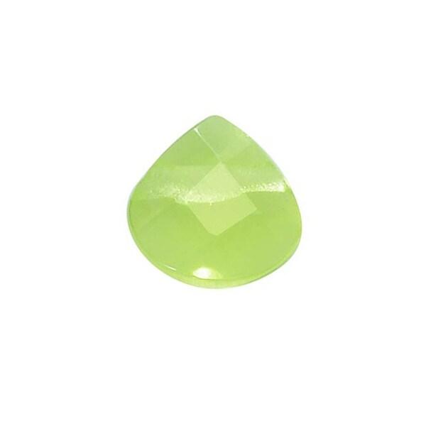 Glass Faceted Heart Cut Briolette Beads 6x6mm - Peridot Green (4)