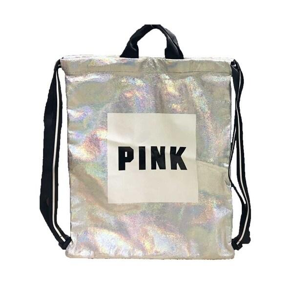 193a68d22dbb2 Shop Victoria's Secret PINK Iridescent Drawstring Backpack W Logo 18 ...