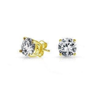 Bling Jewelry Unisex CZ Stud earrings Gold Plated 925 Sterling Silver 6mm