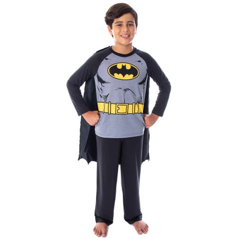 DC Comics Boys' Batman Classic Superhero Costume Raglan Shirt And Pants Kids Pajama Set with Detachable Cape
