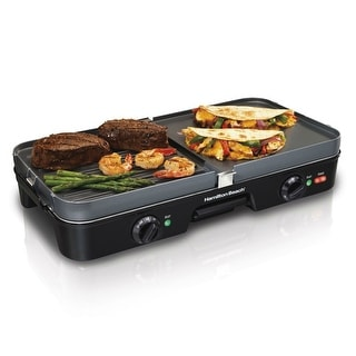 Hamilton Beach 38546 Dual Zone 3 IN 1 Griddle/Grill, Black