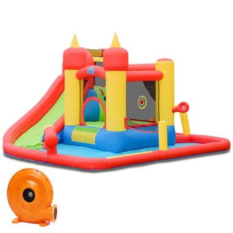 Inflatable Water Slide Jumping Bounce House with 740 W Blower - Multi