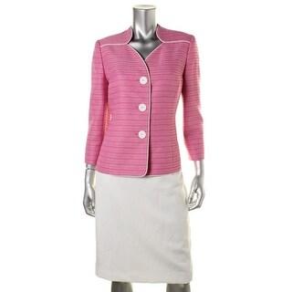 Le Suit Womens Textured Contrast Trim Skirt Suit - 6