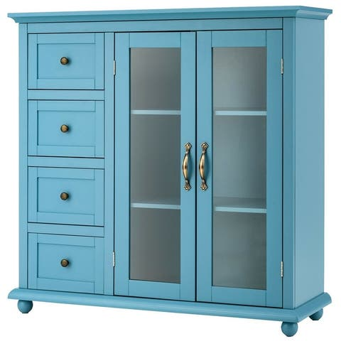 "Buffet Sideboard Table Kitchen Storage Cabinet with Drawers and Doors - 36"" x 12"" x 36.5"" (L x W x H)"