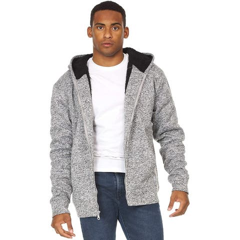 Essential Elements Men's Warm Fleece Fuzzy Sherpa Lined Full-Zip Hoodie Jacket Sweatshirt