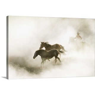 """""""Cowboy rounding up horses in morning fog"""" Canvas Wall Art"""