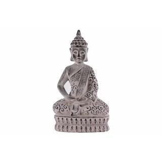 Cemented Meditating Buddha Figurine with Pointed Ushnisha, Gray
