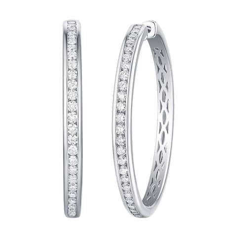 Lab Grown Diamond Long Hoop Earrings for Women, 1.69 Ctw 14K Solid Gold by Smiling Rocks