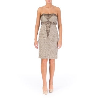 Sue Wong Womens Embellished Strapless Cocktail Dress