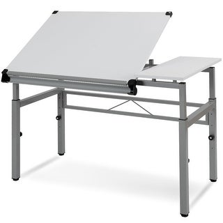 Gymax Adjustable Drafting Table Art & Craft Drawing Desk Folding with Dual Top White