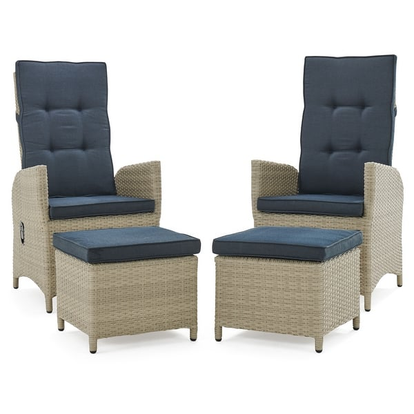 Lamitan Outdoor Wicker Recliners With Ottomans Set Of 2 By Havenside Home On Sale Overstock 29422356