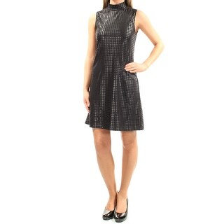 Womens Black Houndstooth Sleeveless Above The Knee Sheath Cocktail Dress Size: XS
