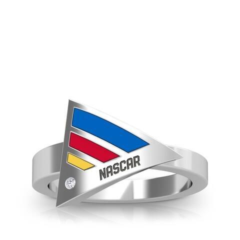 NASCAR Race Stripe Diamond Geometric Enamel Ring In Sterling Silver