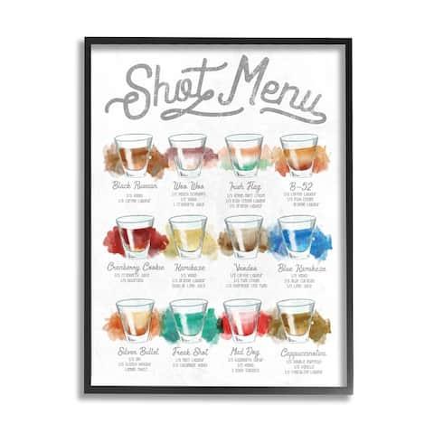Stupell Industries Cocktail Shot Menu Kitchen Drink Recipes Framed Wall Art