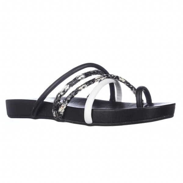 GUESS Jiyana Toe Loop Slide Sandals, Black Multi - 8.5 us