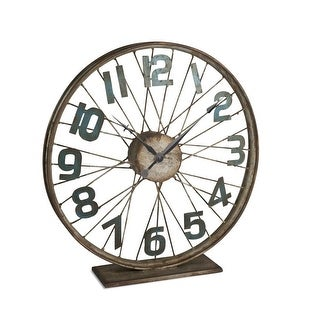 "16"" Rustic Brown and Green Distressed Finish Bicycle Wheel Themed Table Clock"