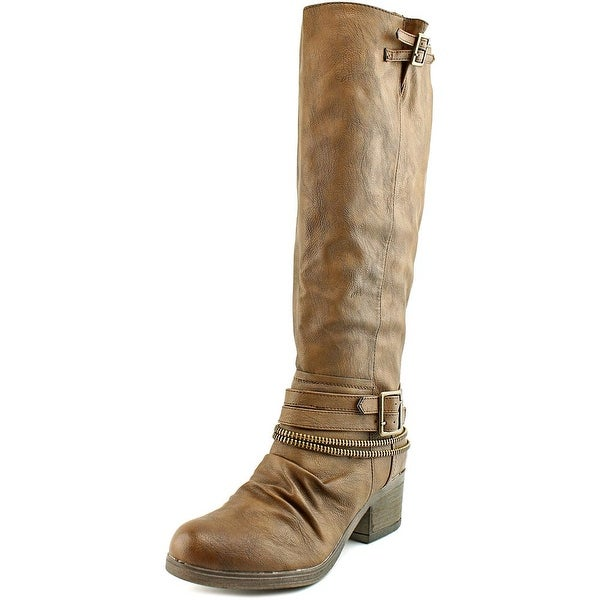 Carlos by Carlos Santana Candace Women Round Toe Leather Brown Knee High Boot