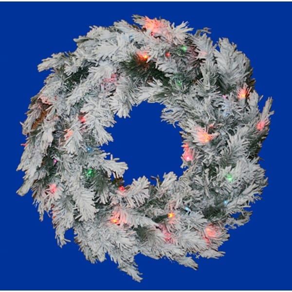 "48"" Pre-Lit Flocked Alaskan Artificial Christmas Wreath - Multi Dura Lights"