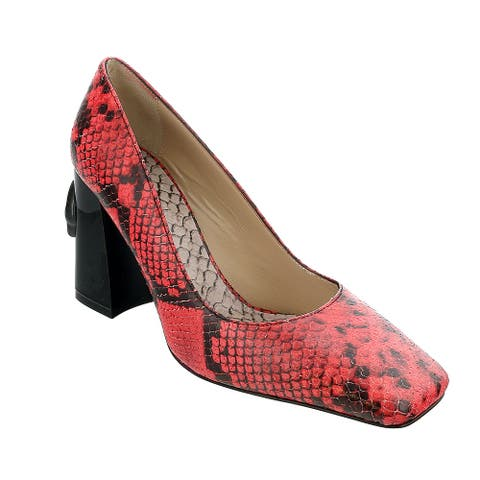 Roberto Cavalli Class Coral/Black Textured Leather Square Toe Block High Heel Pump-