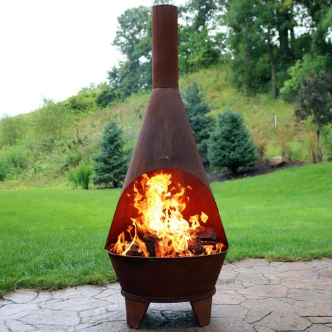 Sunnydaze 75-Inch Chiminea Wood-Burning Fire Pit Steel with Oxidized Finish