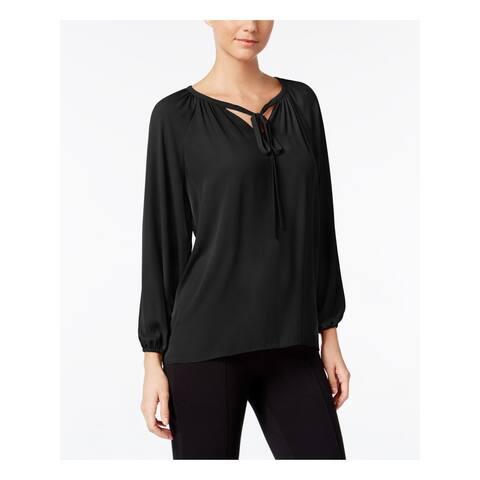 CATHERINE MALANDRINO Womens Black Tie Long Sleeve V Neck Top Size: M